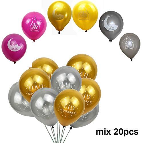Lemon-Land 10 inch Maan Cake Moslim Islamitische Nieuwjaar Hajj Mabrour Festival Decoratie Eid Mubarak Ballonnen Opblaasbare Speelgoed Feestevent Decor 20pcs mix color