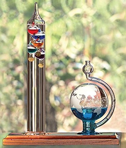 Galileo Thermometer with Glass Globe Barometer.Functional and beautiful, colorful glass bulbs descend and ascend with temperature. Measures temperature and predicts storms. Great gift to give.