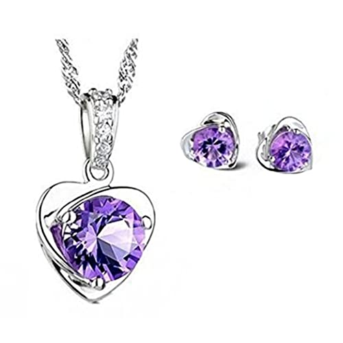 038a8c283 Sterling Silver Purple Austria Crystal Stud necklace and Earrings for Women  Fashion Jewelry set