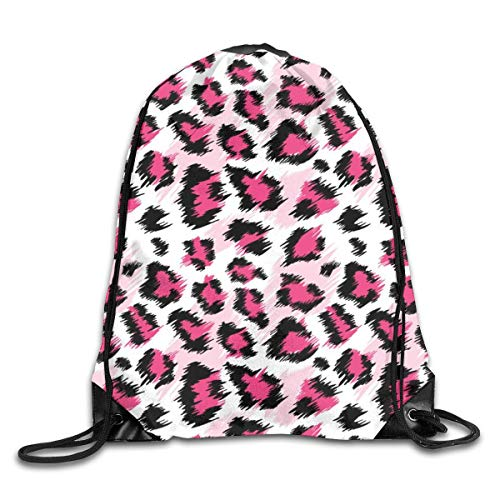 Lawenp Fashionable Pink Leopard Seamless Pattern Drawstring Bag, Sports Cinch Sacks String Drawstring Backpack for Picnic Gym Sport Beach Yoga