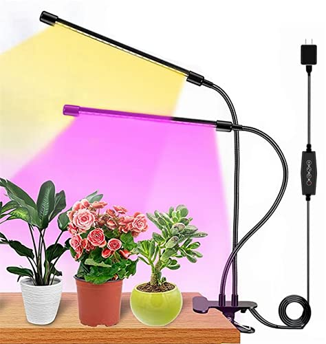 Plant Grow Light, Full Spectrum Dual-Head 60 LED Clip-on Plant Lamp for Indoor Plants Seedlings Succulents,3 Modes & 5-Level Dimmable,Auto On/Off Timer 4H/8H/12H