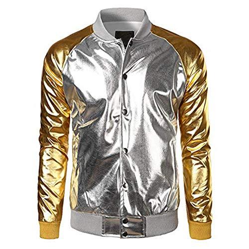 Sweatshirts Herren Gold Herbst Casual Hip Hop Langarm Leder Kapuzenmantel Jacke Streetwear SANFASHION