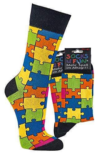 FussFre&e Spaß mit Socken, 2 Paar Socken mit verschiedenen Motivenmit ANTI-LOCH-GARANTIE (Puzzle, numeric_36)