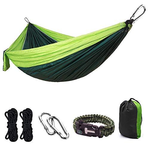 ParaPace Hamaca de camping doble y individual portátil de nailon paracaídas con correas para árboles, mosquetones, para interior, exterior, viajes, playa, patio, senderismo, etc.
