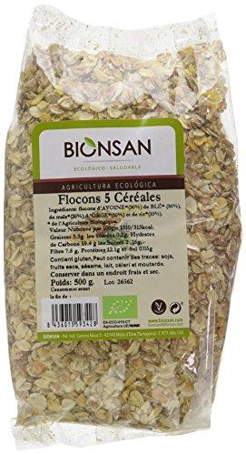 Bionsan - Flocons de 5 Céréales Biologiques | 6 Paquets de 500 gr | Total : 3000 gr 4151401