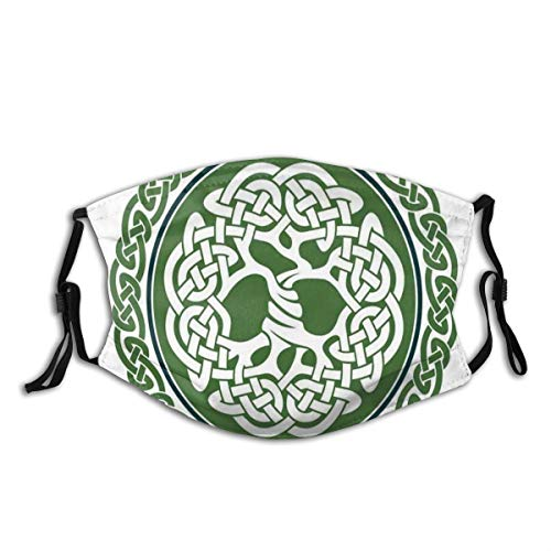 GAOJIK Comfortable Windproof mask,Illustration of Celtic Tree of Life On A Green Circle with Frieze,Printed Facial Decorations for Unisex