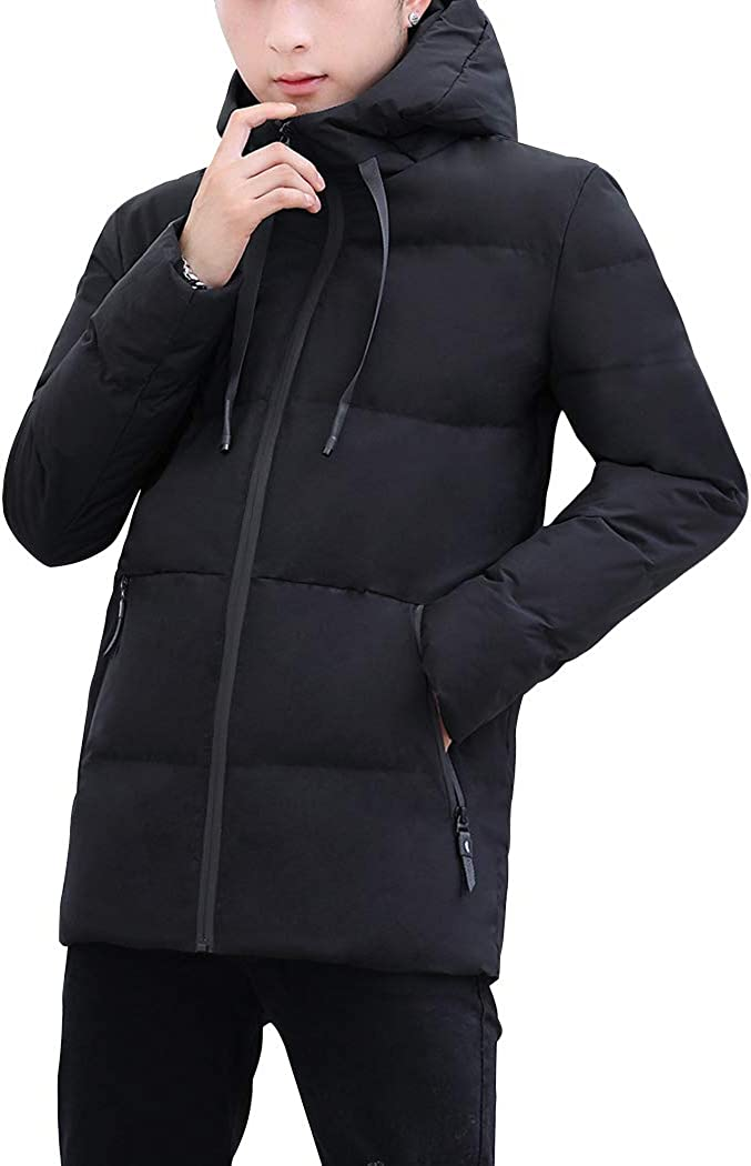 Snowman Lee Men's Warm Down Coat Casual Winter Thicken Hooded Puffer Jacket Slim Fit Outwear
