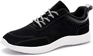 XUJW-Shoes, Fashion Sneakers for Men Walking Sport Shoes Lace Up Mesh Nubuck Leather Round Toe Anti-Slip Breathable Lightweight Durable Comfortable Walking (Color : Black, Size : 6 UK)