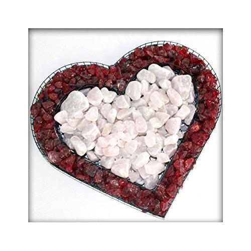 Kieskönig Bellissa Herz Gitter Pflanzschale Grabschmuck Grabgestaltung mit rotem Glassplitt und Rosenquarz