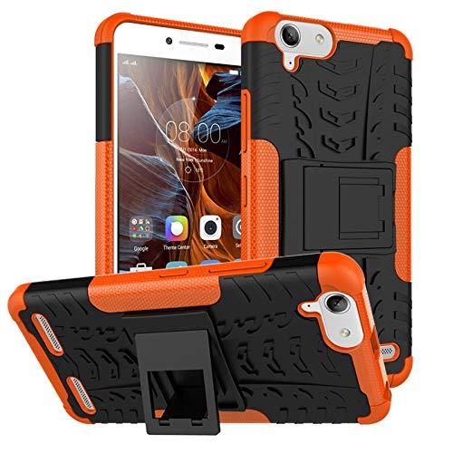 pinlu® Funda para Lenovo K5 / K5 Plus (5 Pulgada) Smartphone Doble Capa Híbrida Armadura Silicona TPU + PC Armor Heavy Duty Case Duradero Protección Neumáticos Patrón Naranja