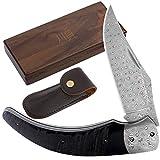 YOUSUNLONG Navaja de bolsillo plegable de acero de Damasco total 205 mm Mango de cuerno de búfalo negro natural con funda de cuero y caja de madera para cuchillos