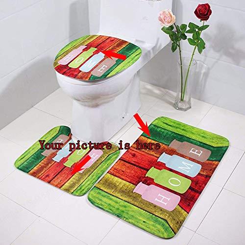 Insmart DIY Sich - Juego de Alfombrillas para baño, 3 Unidades, Antideslizantes, 50 x 80 cm, con Forma de U, Tapa de Inodoro (Interruptor pequeño)