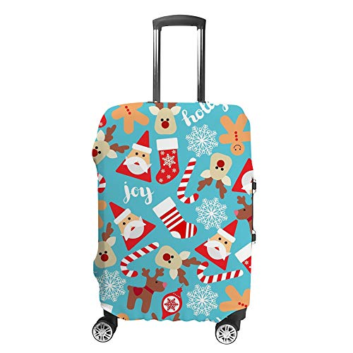 CHEHONG Suitcase Cover Luggage Cover Christmas Icon Red Blue Travel Trolley Case Protective Washable Polyester Fiber Elastic Dustproof Fits 18-20 Inch