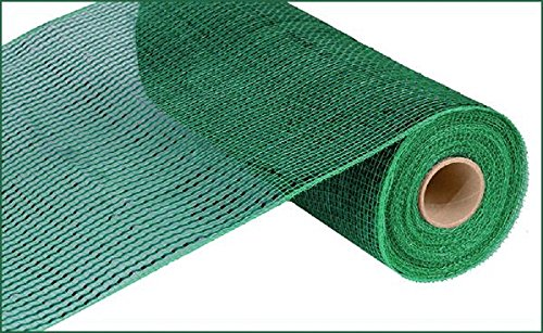 Deluxe Wide Foil Poly Deco Mesh, 10 Inches x 10 Yards (Emerald Green with Emerald Foil)