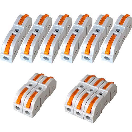 QitinDasen 30Pcs Premium SPL-1 Lever-Nut Verbindungsklemme, Eins-zu-Eins Compact Conductors Klemmenblock, Leiter-Klemme kompakten Steckern, Schnellverbinder Drahtfederverbinder (Freie Kombination)