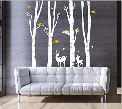 AIYANG Birch Tree Wall Stickers Birke Baum Wandtattoo Wohnzimmer Schlafzimmer Aufkleber Kinder Zimmer Wandmalereien Tapete Poster Wall Art Schlafzimmer Wohnzimmer Dekoration (4Sets-White)