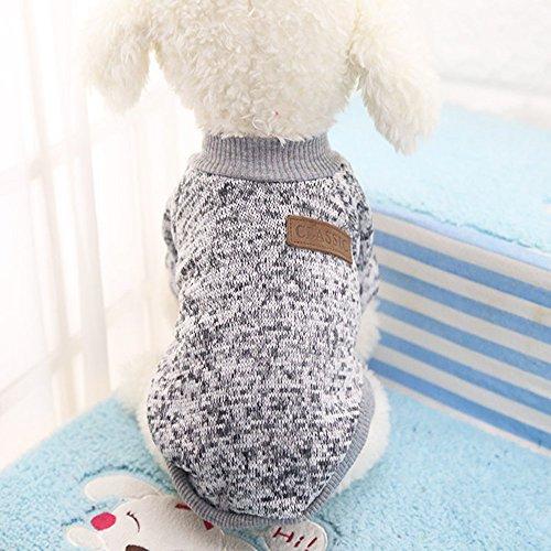 Idepet Pet Dog Classic Sweater, Fleece Coat for Small,Medium,Large Dog,Warm Pet Dog Cat Clothes,Soft Puppy Customes 2 Color (XS, Grey)