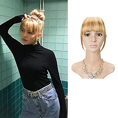 "LEEONS Clip on Bangs Fringe Hair Extensions 6"" Short Straight Clips in Hair Bang False Flat Hairpiece Two Side"