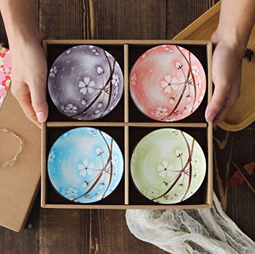Set of 4, Japanese Style Ceramic Rice Bowls