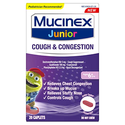 Nasal Decongestant, Cough Suppressant & Expectorant, Mucinex Junior Cough & Congestion Caplets, 20ct, Ages 6+ years, Thins & Loosens Mucus & Relieves Chest Congestion, Cough & Stuffy Nose by Mucinex