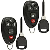 Key Fob Keyless Entry Remote with Ignition Key fits Chevy Suburban Tahoe Traverse/GMC Acadia Yukon/Cadillac Escalade SRX/Buick Enclave/Saturn Outlook, Set of 2