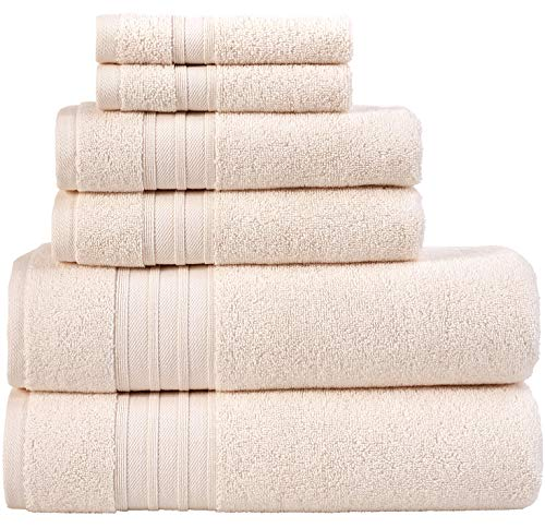 Hammam Linen 100% Cotton 6 Piece Towel Set, Sea Salt Super Soft, Fluffy, and Absorbent, Premium Quality Perfect for Daily Use (2 x Bath Towels, 2 x Hand Towels, 2 x Washcloths)