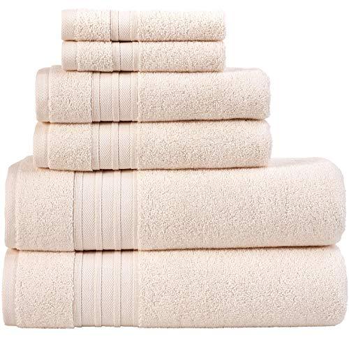 Hammam Linen 100% Cotton Towels Soft and Absorbent, Premium Quality (Sea Salt, Bath Towel Set 6 Pieces)