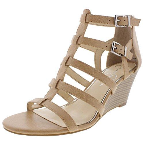 Jessica Simpson Women's Shalon Wedge Sandal, Buff, 6.5 Medium US
