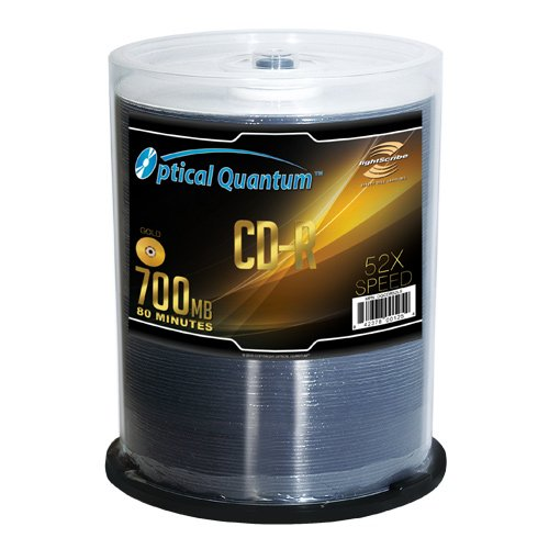 Optical Quantum LightScribe Gold 52x 80 min 700 MB CD-R Discs, 100 disc spindle
