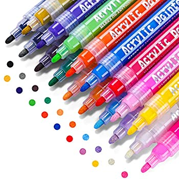 Acrylic Paint Marker Pens Emooqi 18 Colors Premium Waterproof Permanent Paint Art Marker Pen Set for Rock Painting DIY Craft Projects Ceramic Glass Canvas Mug Metal Wood Easter Egg