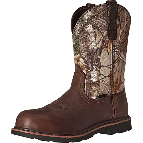 Men's Western Boots Round Toe Chunky Low Heel Cowboy Boots Fashion Splicing Retro Faux Leather Wide Calf Work Boots