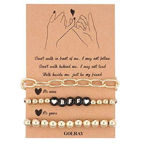 vamei BFF Bracelets Bead Friendship Bracelets with Dainty Link Chain Bracelet Distance for Women Girls (Black)