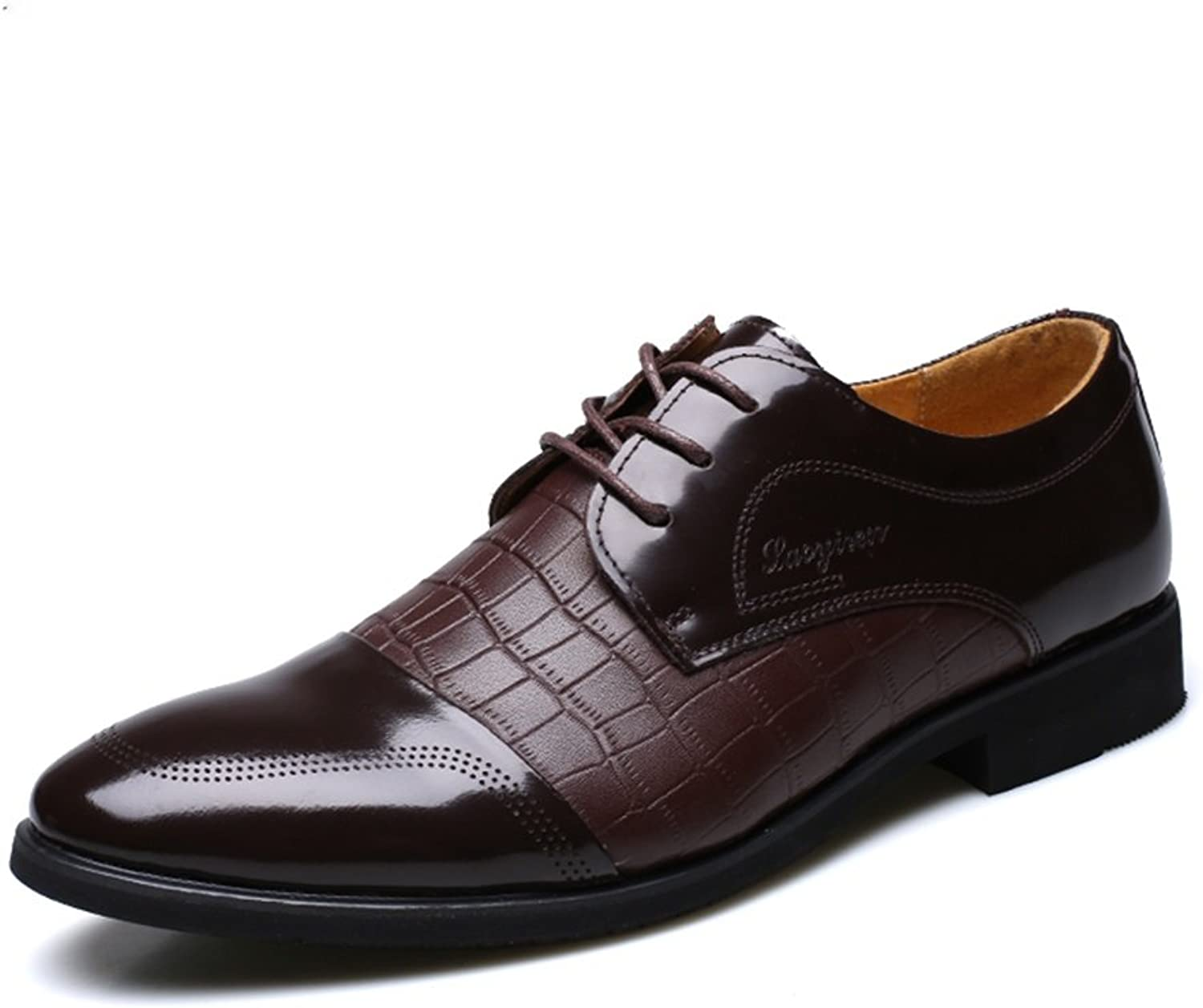 Men's Genuine Leather Formal Modern Classic Handcrafted Crocodile Embossed Calfskin Lace Up Leather Lined Oxford Dress shoes ( color   Brown , Size   10 D(M)US )