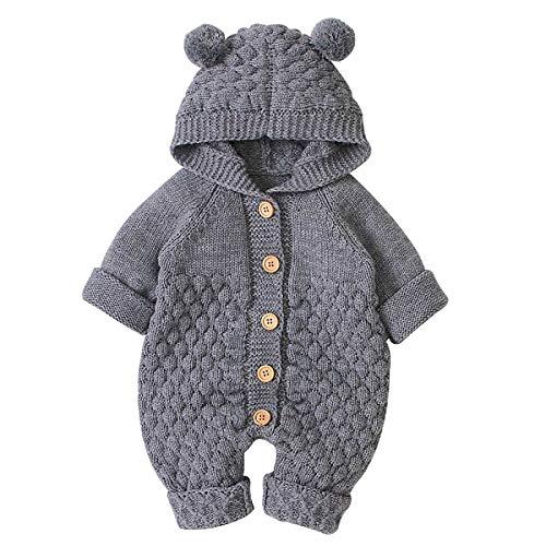 puseky Strampleroverall des neugeborenen Babymädchens mit Kapuze Einteilige Bodysuitoberbekleidung,Grau,0-6 Monate (66cm)
