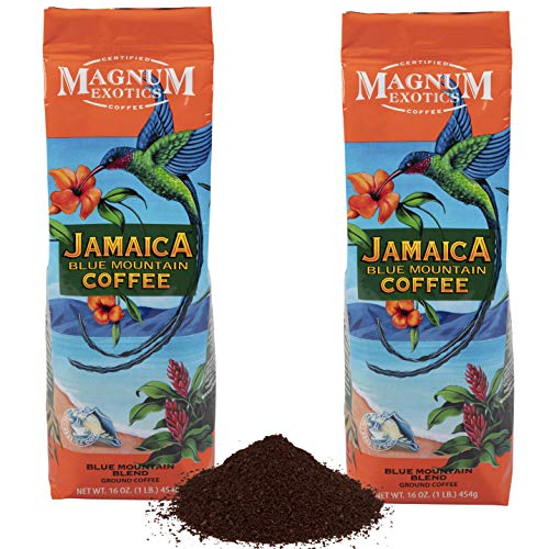 Magnum Exotics Jamaican Blue Mountain Blend Coffee, Ground (2) 1 Pound Bags