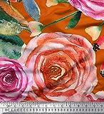 Soimoi Orange Satin Seide Stoff Blätter & Rose Blume