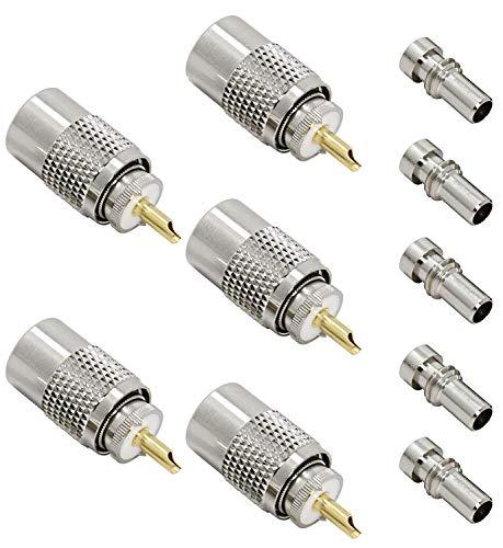 Gebildet 5 Pack UHF/PL-259 Conector Coaxial de Soldadura Masculina con Reductor para...