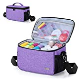YARWO Sewing Accessories Organizer, Craft Storage Bag for Sewing Tools and Supplies, Purple
