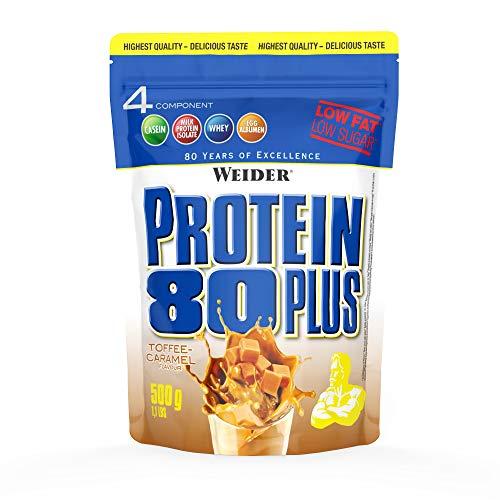 Weider Protein 80 Plus, Proteina de suero de suero de leche, Sabor Caramelo, 500 gr