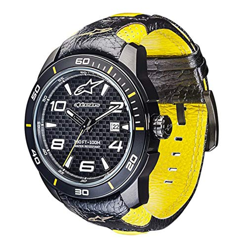 Alpinestars Race Watch, Men's 45 MM Stainless Steel case, 100 Meters Water Resistant, Japanese Movement, Hand Made Genuine Leather Wristband