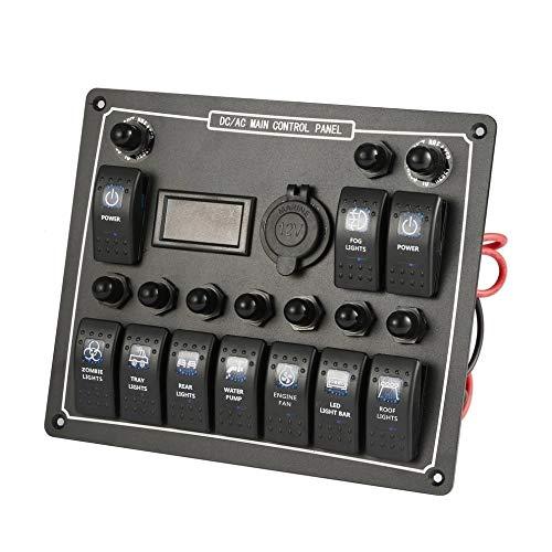 CAIZHIXIANG 10 Gang, Impermeable del Coche del Barco Auto del Interruptor LED AC DC Rocker/Salida El Panel de energía Dual de Control de protección de sobrecarga 15A DC