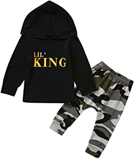 Girls Boys Jogger Outfits 2 Piece Long Sleeve Hoodie Sweatshirt Tops+Camouflage Pants Outfit Set