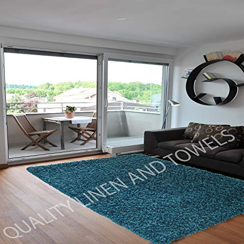 Shaggy Rug Teal Blue 963 Plain 5cm Thick Soft Pile 200cm x 290cm (6ft 7' x 9ft 6') Modern 100% Berclon Twist Fibre Non-Shed Polyproylene Heat Set - AVAILABLE IN 6 SIZES by Quality Linen and Towels