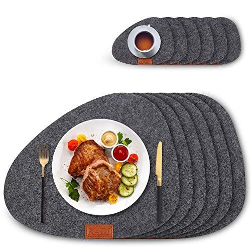 KADI - Juego de 6 manteles individuales redondos para mesa de comedor, antideslizantes, color gris, resistentes al calor