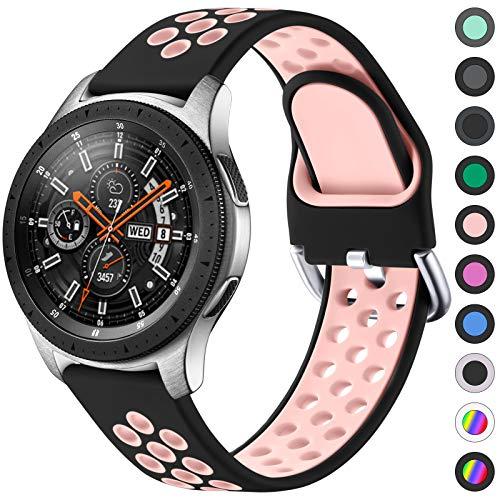 JUVEL Compatible con Samsung Galaxy Watch 3 45mm Correa/Samsung Gear S3 Correa, Silicona Suave de 22mm Correas de Repuesto Deportivas Transpirables para Huawei Watch GT2, Pequeño, Negro Rosa