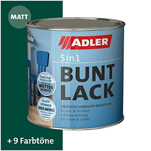ADLER 5in1 Buntlack für Innen und Außen - Matt - 125ml- Wetterfester Lack und Grundierung für Holz, Metall & Kunststoff RAL6005 Moosgruen
