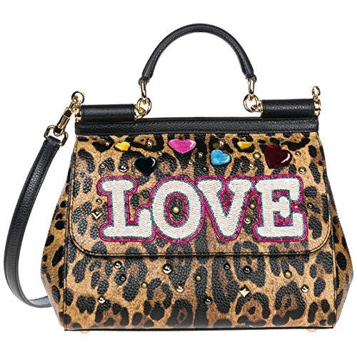 Dolce & Gabbana sac à main femme en cuir sicily marron