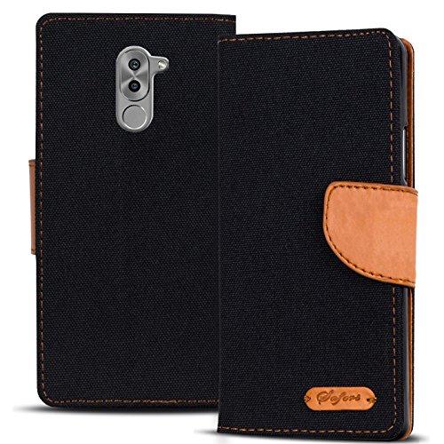 Preisvergleich Produktbild Verco Honor 6X Hülle,  Schutzhülle für Huawei Honor 6X Tasche Denim Textil Book Case Flip Case - Klapphülle Schwarz