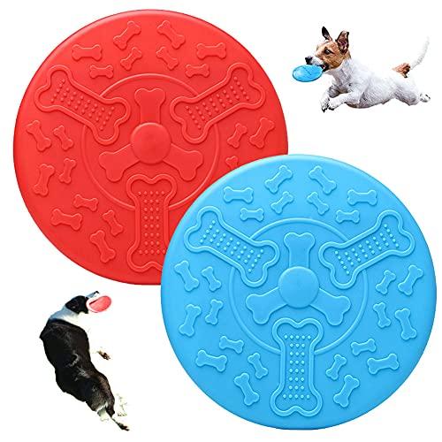 2 Juguete Frisbee para Perros,Frisbee de Goma,Frisbee de Perro,Frisbee de Perro de Goma,Se Utiliza para eJercitar Deportes al Aire Libre para Lerros,Entrenar Perros,Saltar y Atrapar