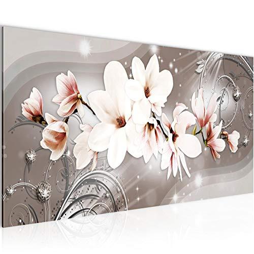Bilder Blumen Magnolien Wandbild Vlies - Leinwand Bild XXL Format Wandbilder Wohnzimmer Wohnung Deko Kunstdrucke Braun 1 Teilig - MADE IN GERMANY - Fertig zum Aufhängen 006212a
